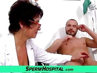 Milf-boy tugjob feat. large mambos lady doctor greta