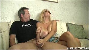 Huge-titted milf enjoys jerking ramrods