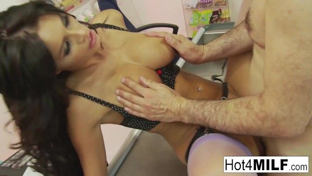 A pair of breasty brunettes receive drilled in foursome act