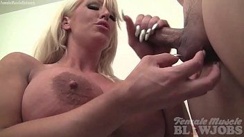 Female muscle porn star takes cum on her massive whoppers