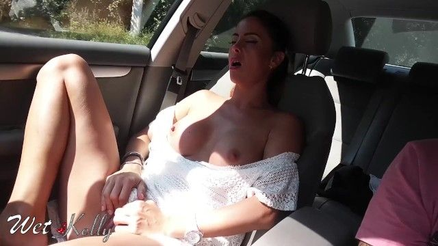 Real dilettante cutie masturbates in the car on the town streets. wetkelly