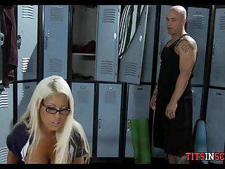 Massive tit whore in the locker room